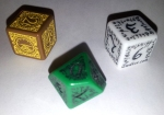 Pictured: Steampunk d6 (left), Elvish d10 (centre), Elvish d6 (right)